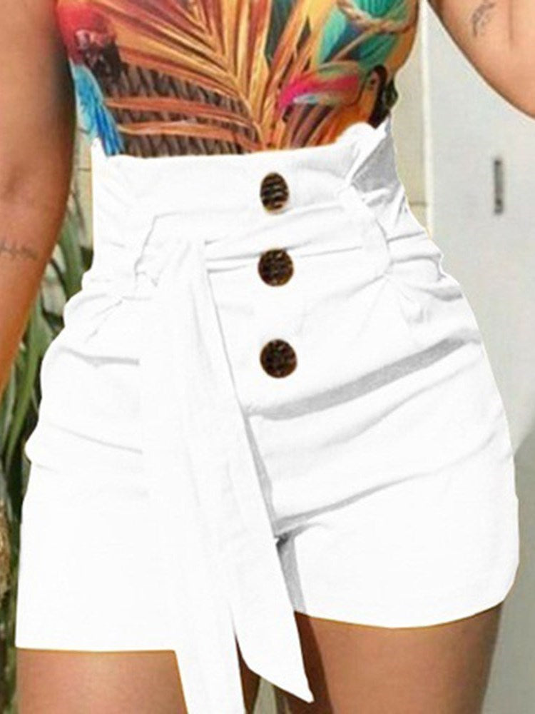 Shorts Femme Bouton Pure Taille Haute Bouton