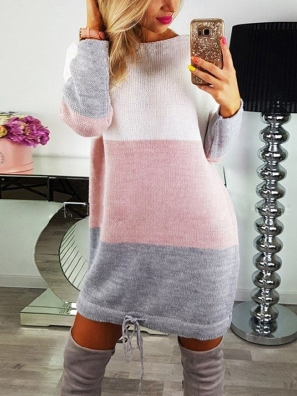 Robe Pull Courte Couleur Contraste Manches Longues