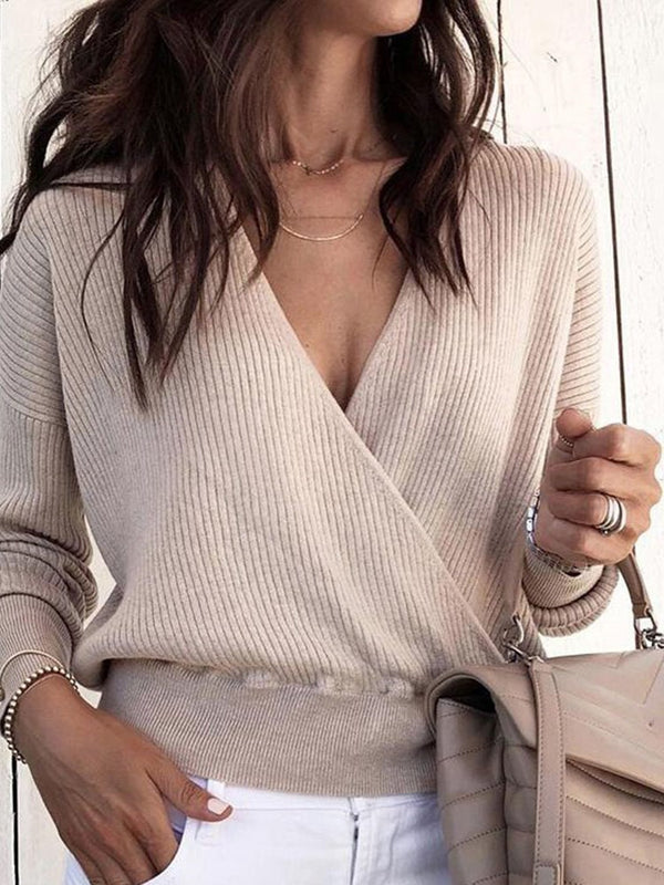 Pull Courte V-Col Printemps Manches Longues Pure