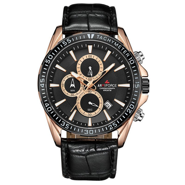 Montre Rond Homme Quartz en Cuir Verre Alliage Waterproof