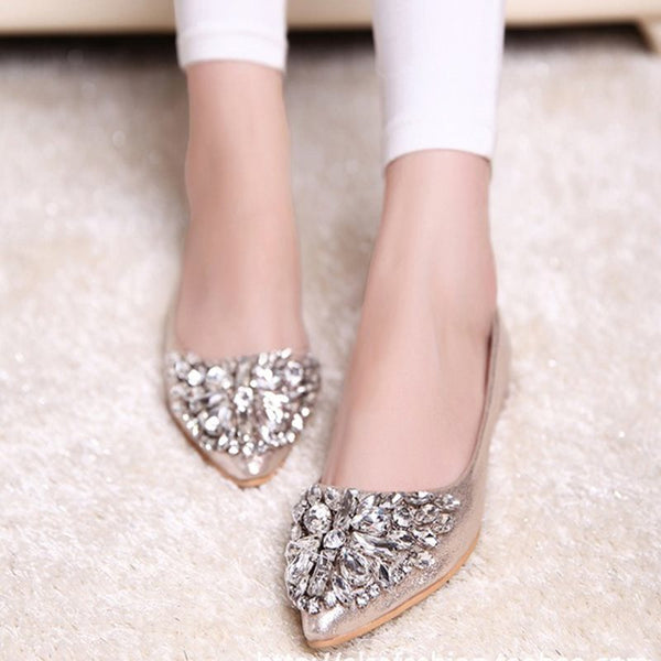 Chaussures Femme Slip-On Talon Carré Pointe Diamant Incrusté Low-Cut Upper Loisir