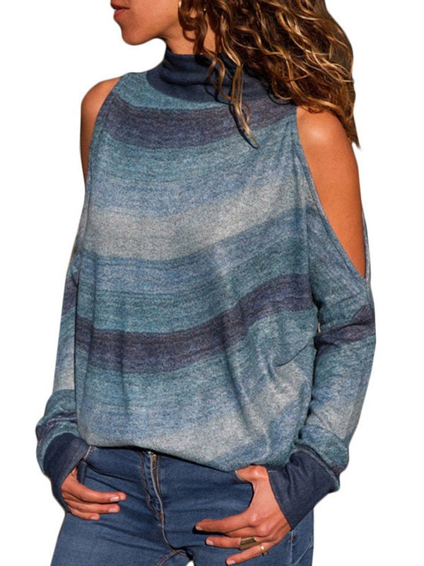 Pull Femme Epaules Nues en Maille Fine Manches Longues
