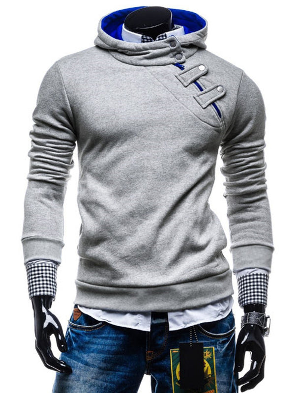 Hoodie Pull Homme à Capuche Avec Col Revers Slim