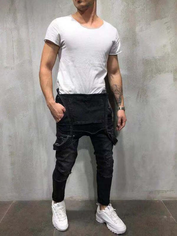 Pantalon Homme Slim Denim Troué Bretelle Salopette Combinaison
