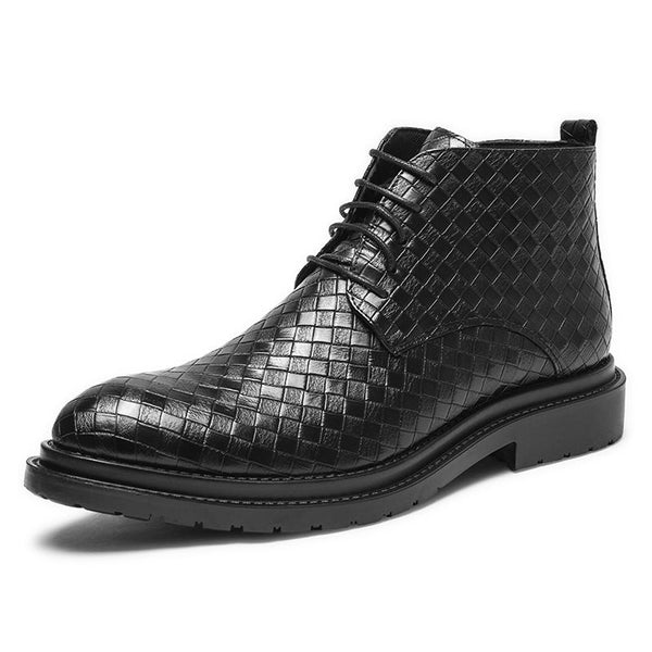 Bottine Homme en PU Martin Style Carreaux Casual