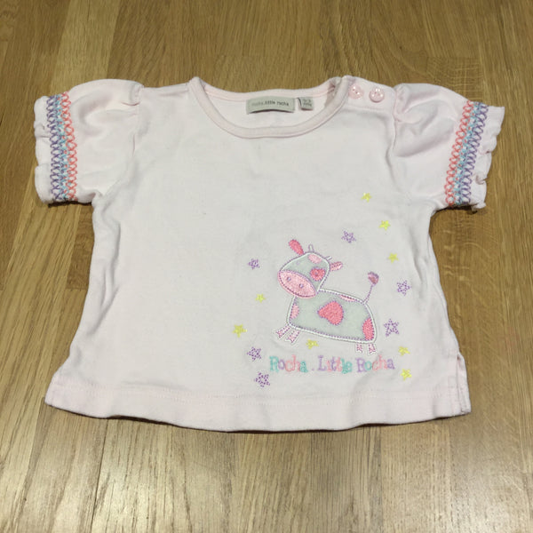 Appliqued Cow Pale Pink T-Shirt - Girls 0-3m