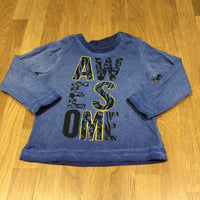 'Awesome' Mottled Blue Long Sleeve Top - Boys 3-6m