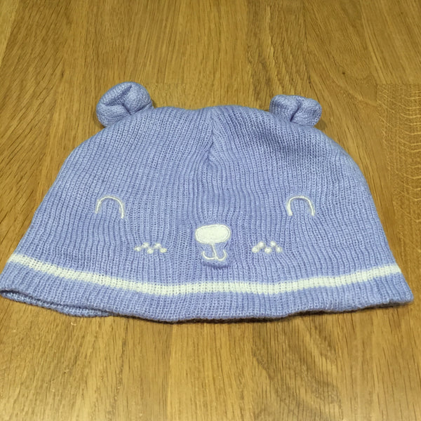 Bear Face Blue Knitted Hat with Ears - Boys 0-3m
