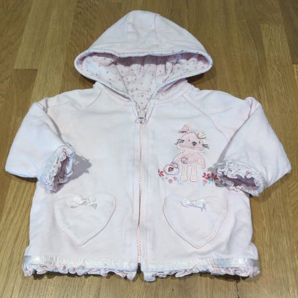 Reversible Appliqued Rabbit & Flowers Pale Pink Jersey Hooded Coat - Girls 6-9m