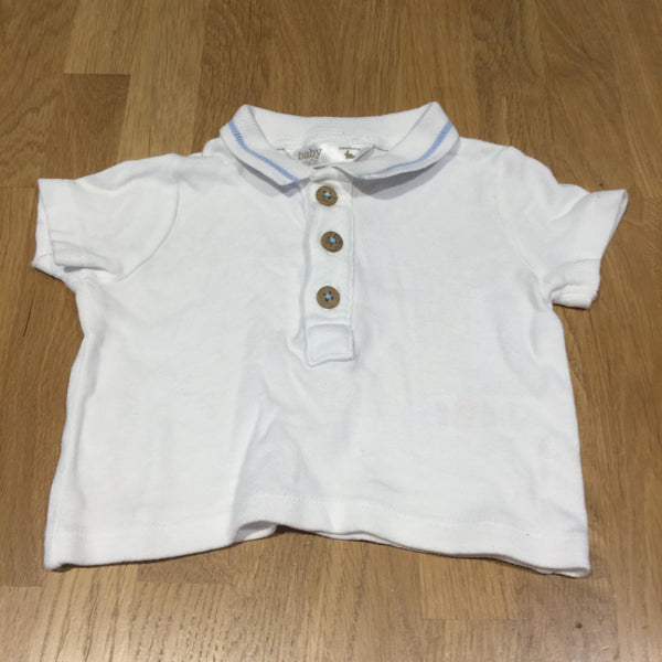 White & Light Blue Polo Shirt - Boys Newborn