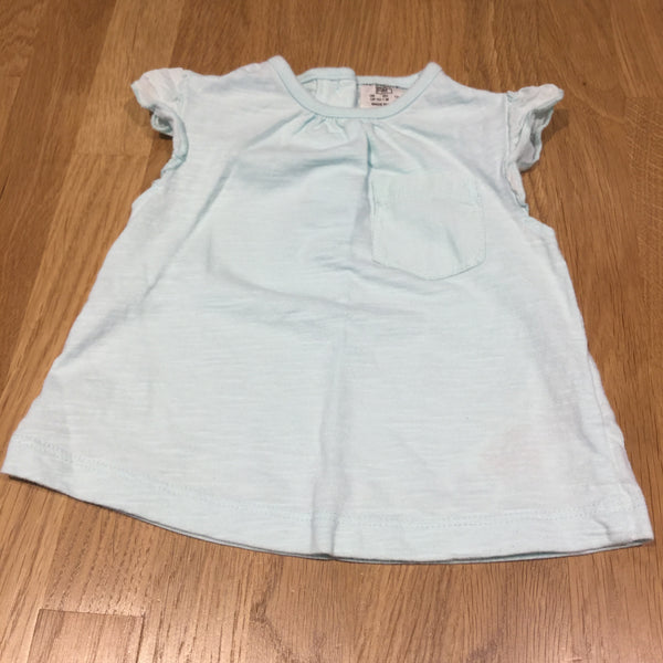 Light Blue T-Shirt with Frilly Sleeves & Pocket - Girls Newborn