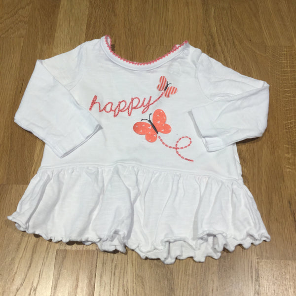 'Happy' Butterflies White Long Sleeve Tunic Top with Frilly Hems - Girls Newborn