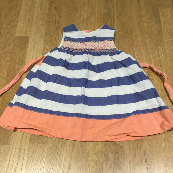 Blue, White & Coral Striped Lined Linen Dress - Girls Newborn