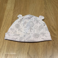 Hedgehogs & Birds Pale Pink Jersey Hat with Ears - Girls 6-12m