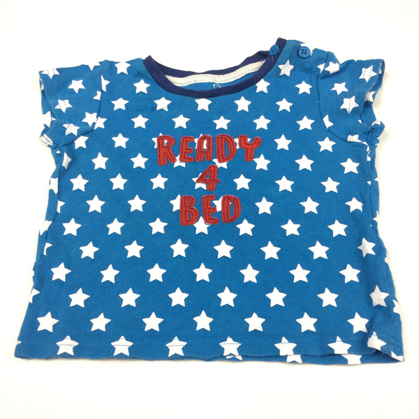 'Ready For Bed' Blue & White Stars Pyjama Top - Boys 18-24m