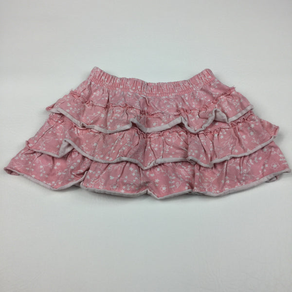 Flowers Pink & White Jersey Ra-Ra Skirt - Girls 12-18m