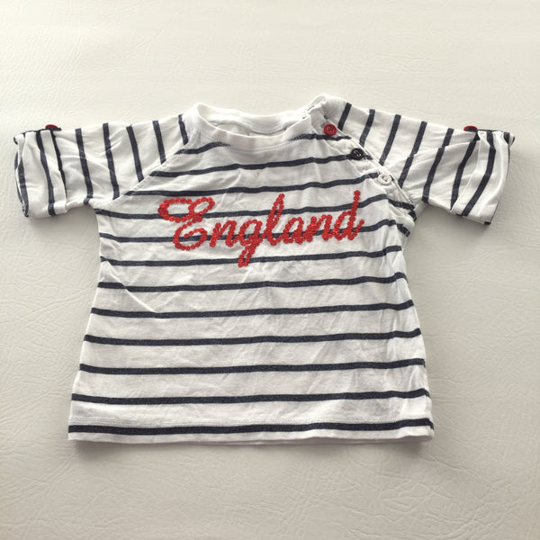 'England' Sequins Navy & White Striped T-Shirt - Girls 6-9m