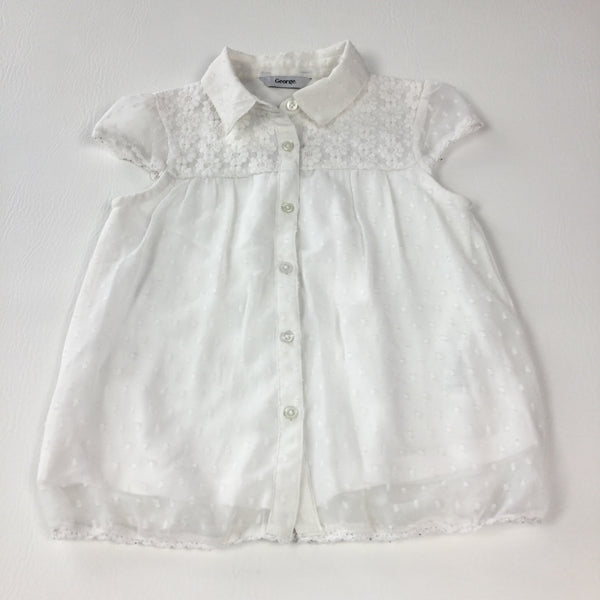 Cream Sheer Short Sleeve Blouse with Lace Panel & Jersey Underlay - Girls 5-6