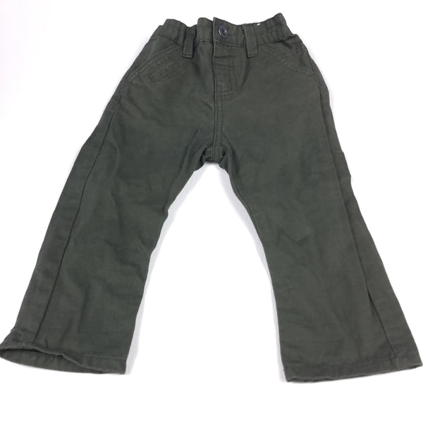 Khaki Green Cotton Twill Trousers with Adjustable Waistband - Boys 9-12m