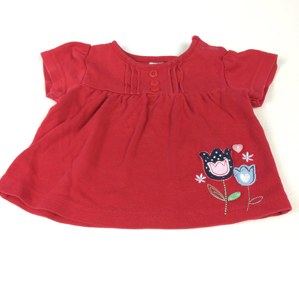 Appliqued Tulips Red T-Shirt - Girls 0-3m