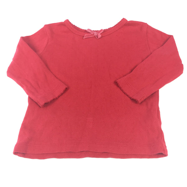 Patterned Red Long Sleeve Top - Girls 3-6m