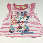 'Happy Days' Appliqued Beach Huts & Boats Pink & White Striped T-Shirt - Girls Newborn