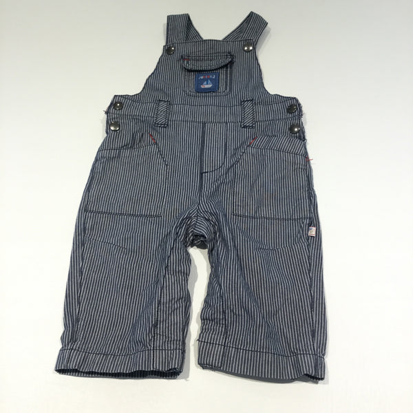 Sailing Boat Motif Navy & White Striped Cotton Dungarees - Boys 3-6m