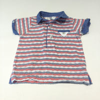 Pink, White & Blue Striped Polo Shirt - Boys 3-6m