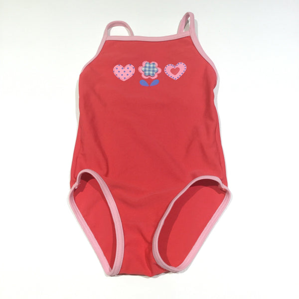 Hearts & Flowers Red & Pink Swimming Costume - Girls 3-6m
