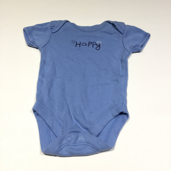 'Happy' Blue Short Sleeve Bodysuit - Boys 0-3m