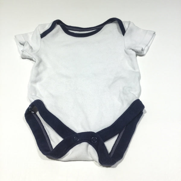 White & Navy Short Sleeve Bodysuit - Boys Newborn