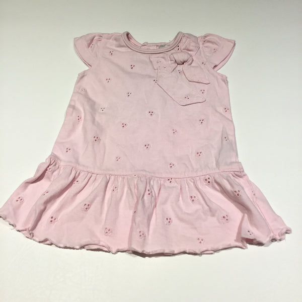 Pink Short Sleeved Jersey Dress with Bow Detail - Girls Newborn - Up To 1 Month