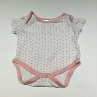 Pink Dots White Short Sleeve Bodysuit - Girls 3-6m
