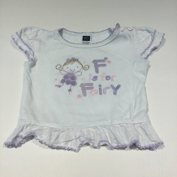 'F Is For Fairy' Appliqued White & Lilac T-Shirt - Girls 3-6m