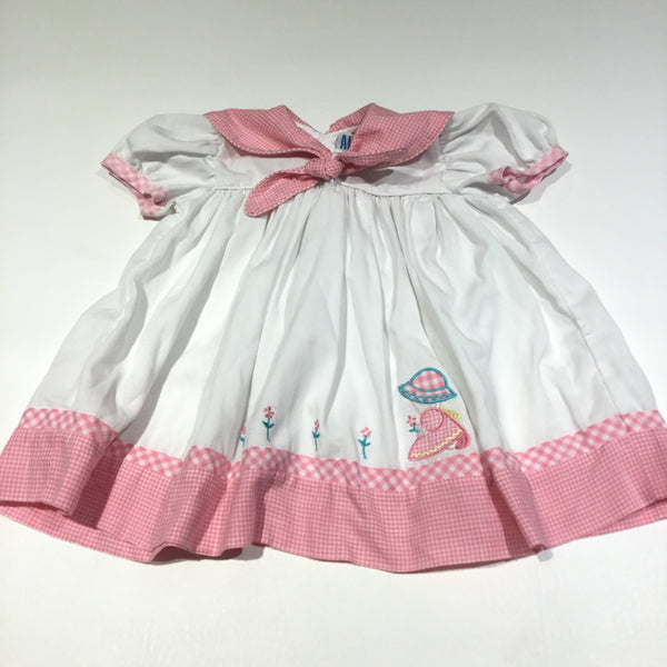 Appliqued Girl & Flowers Pink Gingham & White Cotton Dress - Girls 6-9m