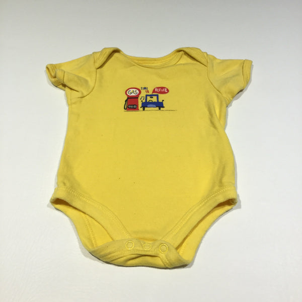 'Time To Refuel' Car Yellow Short Sleeve Bodysuit - Boys 0-3m