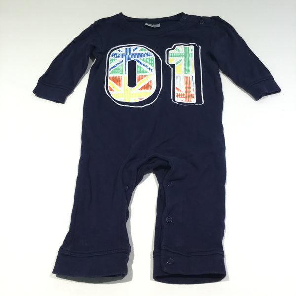'01' Union Jack Navy Jersey Long Sleeve Romper - Boys 3-6m