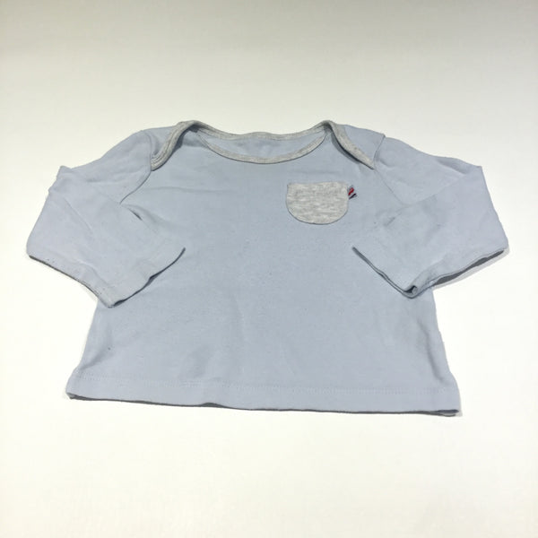 Blue & Grey Long Sleeve Top - Boys 6-9m