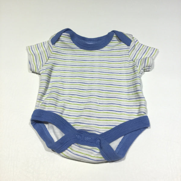 Blue, Green & White Striped Short Sleeve Bodysuit - Boys Newborn
