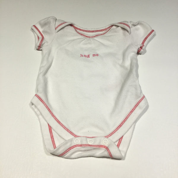 'Hug Me' White Short Sleeve Bodysuit - Girls Newborn