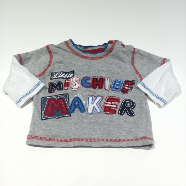'Little Mischief Maker' Grey & White Long Sleeve Top - Boys 0-3m