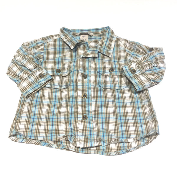 Blue, Cream & Brown Checked Cotton Long Sleeve Shirt - Boys 4-6m