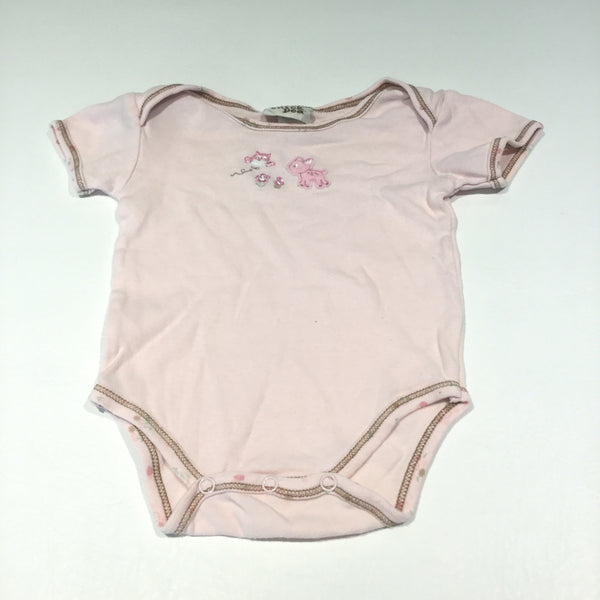 Appliqued Deer & Owl Light Pink Short Sleeve Bodysuit - Girls 6-9m