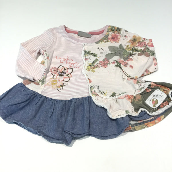 'Laugh, Be Happy…' Colourful Flowers Patchwork Jersey & Cotton Tunic Top  - Girls 6-9m
