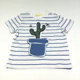 Cactus Blue & White Striped T-Shirt - Boys 6-9m