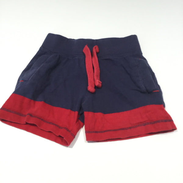 Navy & Red Jersey Shorts - Boys 9-12m