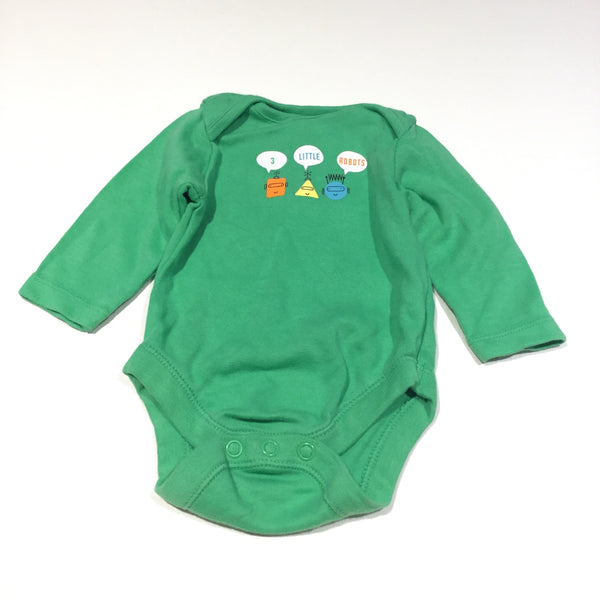 '3 Little Robots' Green Long Sleeve Bodysuit - Boys Newborn - Up To 1 Month