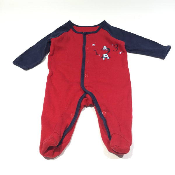 'One Two Three' Bears Navy & Red Babygrow - Boys Newborn