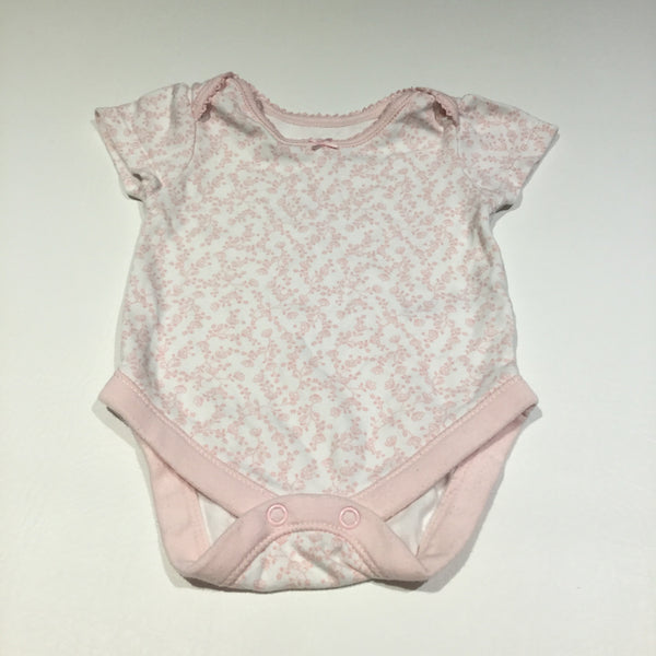 Pink Flowers White Short Sleeve Bodysuit - Girls 0-3m