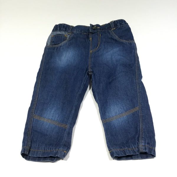 Dark Blue Lined Denim Lightweight Jeans - Boys 9-12m